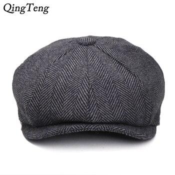 Plus rozmiar Peaky Blinders mężczyźni berety kapelusz jesień nowy Vintage w jodełkę Octagon Cap kobiet dorywczo kapelusz dyni Gatsby płaski Beret