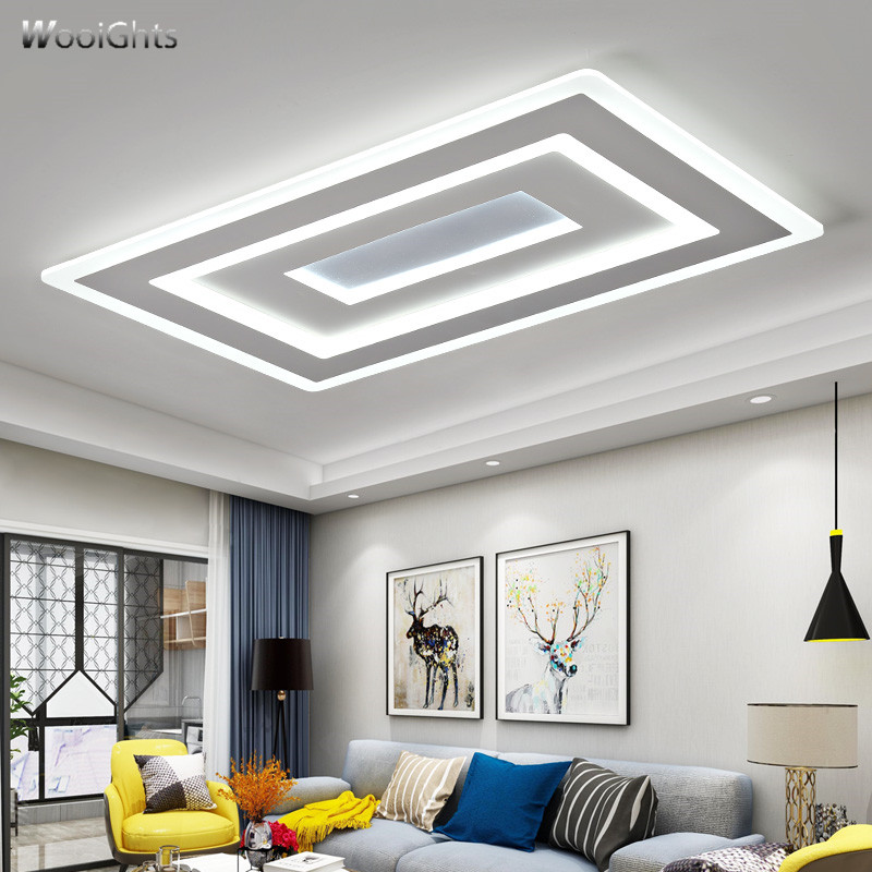 цена на Wooights Ultra-thin Surface Mounted Modern Led Ceiling Lights lamparas de techo Rectangle acrylic/Square Ceiling lamp fixtures