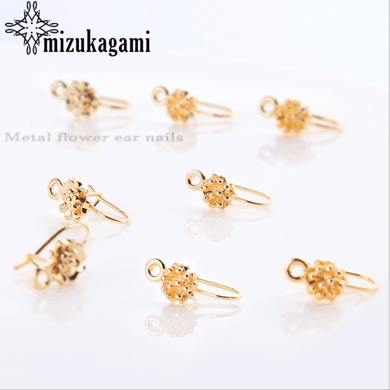 10pcs/lot Ear Studs With Real Golden Flowers Base Earrings Connector DIY For Drop Earrings Jewelry Making Accessories