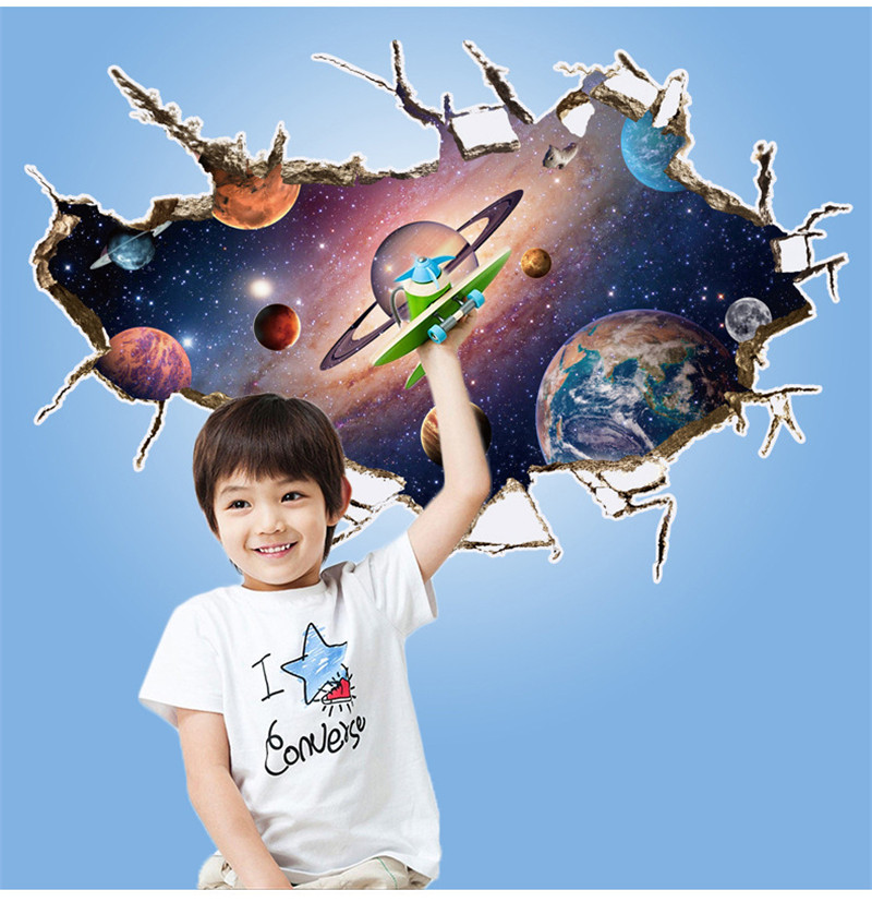 Solar System 3d breaking out wall stickers for kids boys rooms Stars outer space wall decals home decor