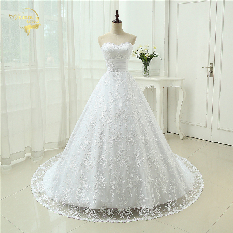 Romantic Sweetheart Appliques A Line Lace Wedding Dress