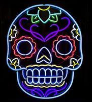 Череп дизайн стеклянный неоновый свет знак пивной бар