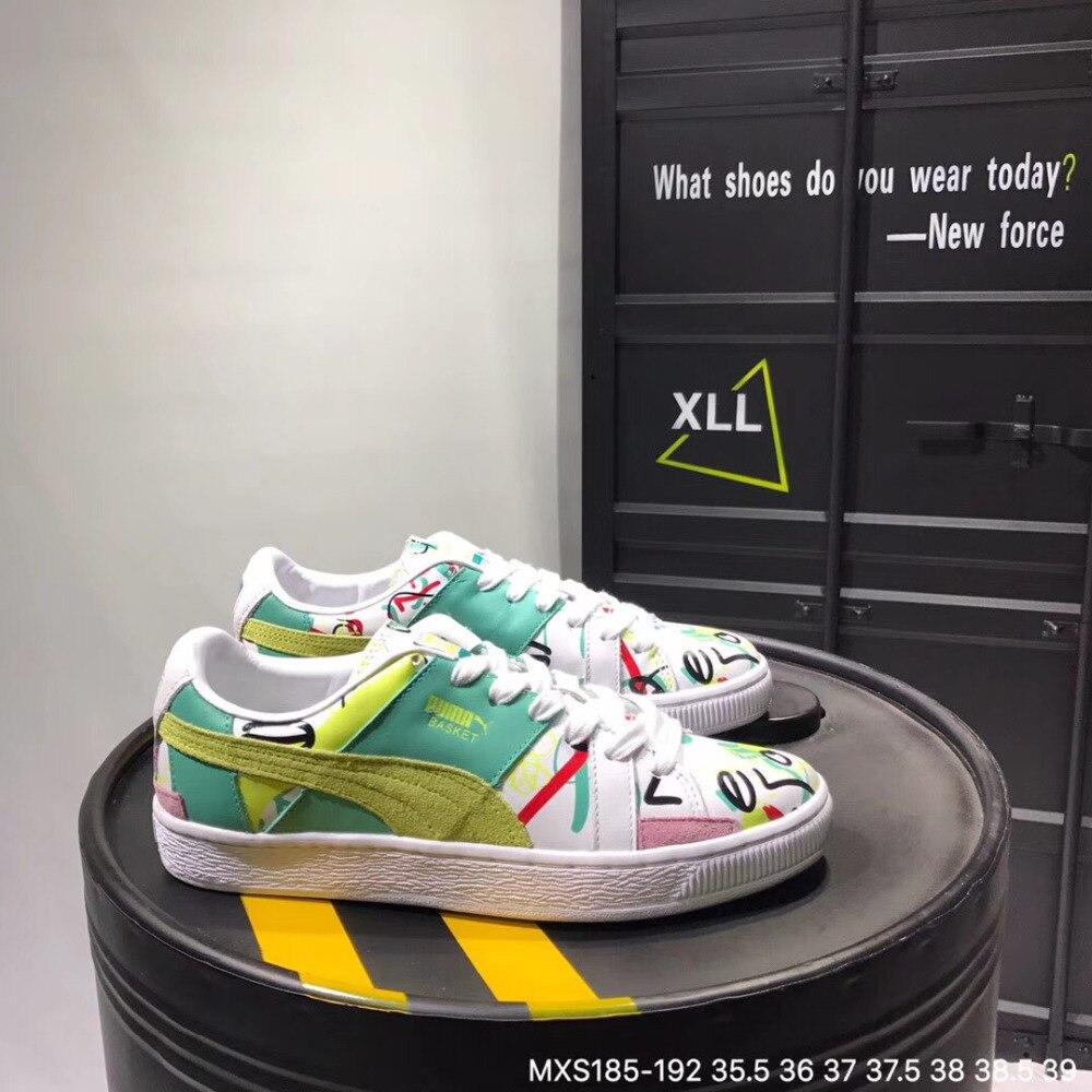 Original 2018 new Puma women's leather graffiti sneakers Badminton Shoes Size 36 39
