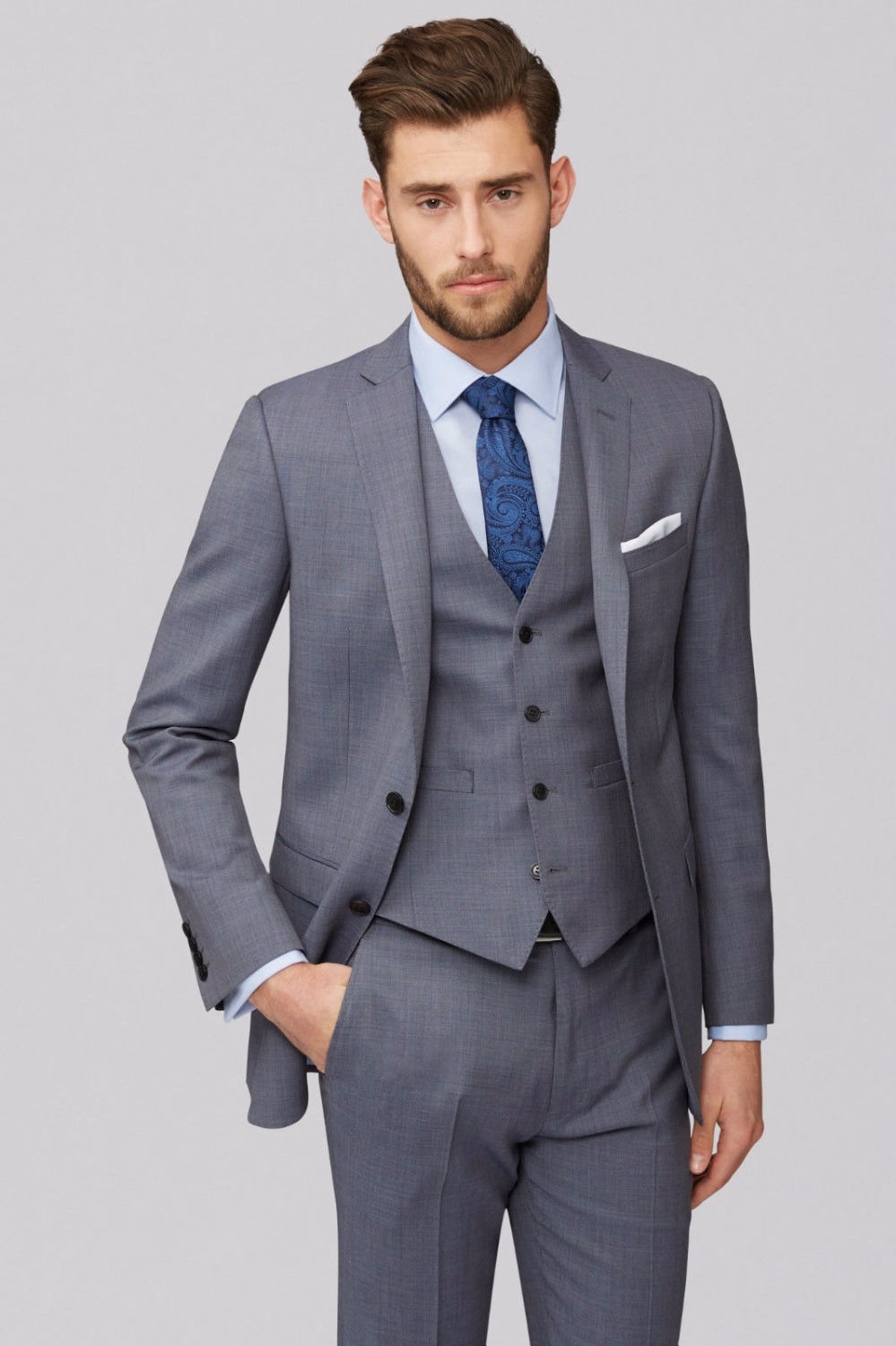 2018 New Blazer suit Mens Grey 3 Piece Wedding Suits Best ...