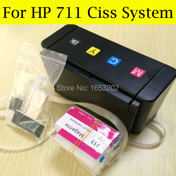 1 Set Continuous Ink Supply System For HP711 Ciss For HP Officejet Pro T120 120 T520 520 With 711 ARC Chips