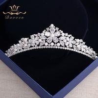 Bavoen New Arrival High quality European Brides Cubic Zirconia Tiara Headpieces Evening Pearls Crown Hair Accessories