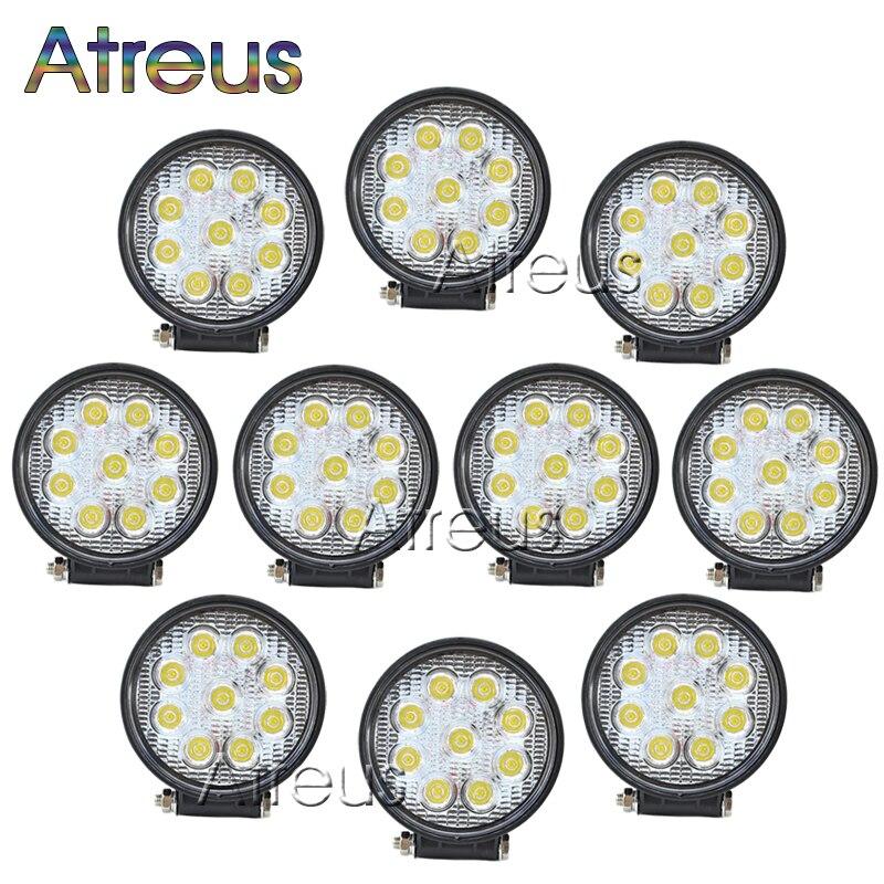 Atreus 10ks 4-palcové 27W kulaté auto LED světelná lišta 12V 24V auto LED pracovní světlo bodový paprsek pro 4x4 terénní ATV kamionové mlhové lampy