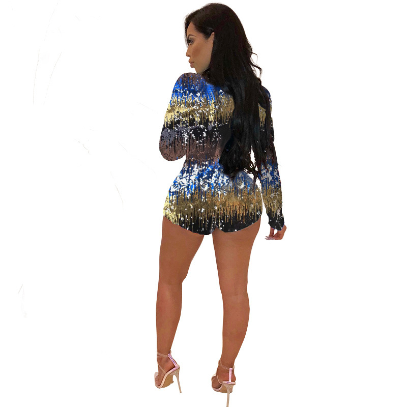 Adogirl Colorful Sequins Deep V Neck Playsuit Women Sexy Sheath Long Sleeve Night Club Party Jumpsuit Casual Overalls Rompers 69