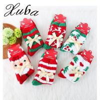 Xuba 6 Pairs Winter Thick Coral Cashmere Adult Socks Women Cute Santa Claus Deer Xmas Tree Warm Short Socks Christmas Gift zk35