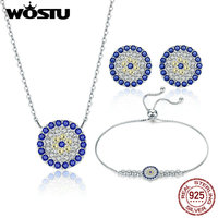 WOSTU New Arrival Authentic 925 Sterling Silver Vintage Samsara Jewelry Sets Bracelet Earrings Necklace For Women Fashion Gift