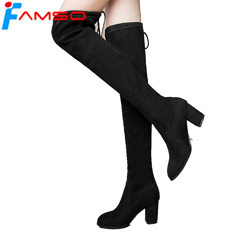 FAMSO Size 34-43 2018 Shoe Women Boots Black red Over The Knee Boots Designer Winter Suede Boots Winter Keep Warm Snow Boots