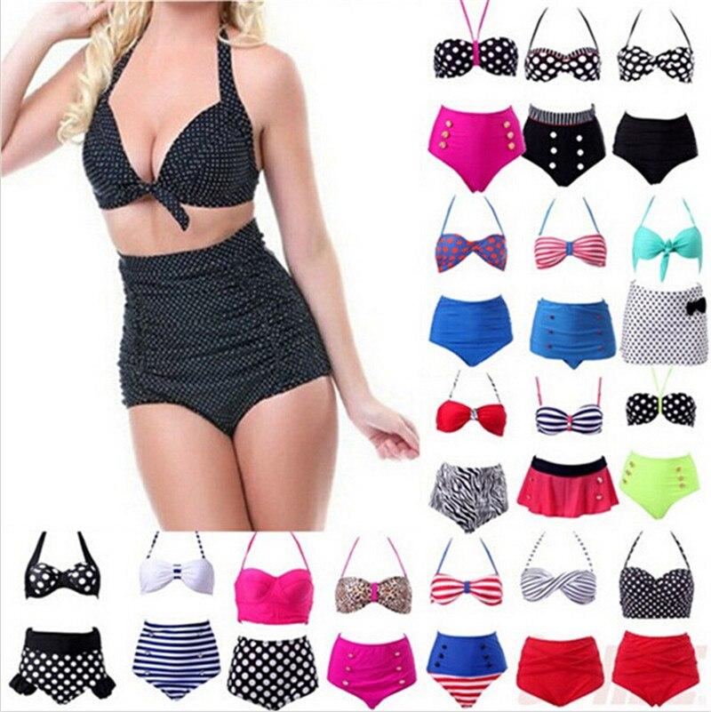 2015 Women RETRO Pinup Swimwear Rockabilly Vintage High Waisted Swimwear Swimsuit Push Up Bathing Suit Beachwear