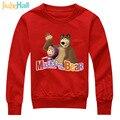 Jiuhehall 2017 primavera venda quente das crianças do hoodie impressão masha hcm151 clothing for kids manga longa pulôver menino menina