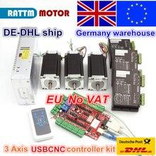 Из ЕС/Бесплатный НДС склад 3 aixs USBCNC NEMA23 425oz-in, 112 мм, 3A(двойной вал) шаговый двигатель CNC Комплект