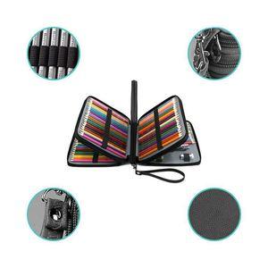 168 слотов, супер большая емкость, сумка для ручки с ремешком на молнии для акварельных карандашей Prismacolor, цветные карандаши Crayola, Marco Pe