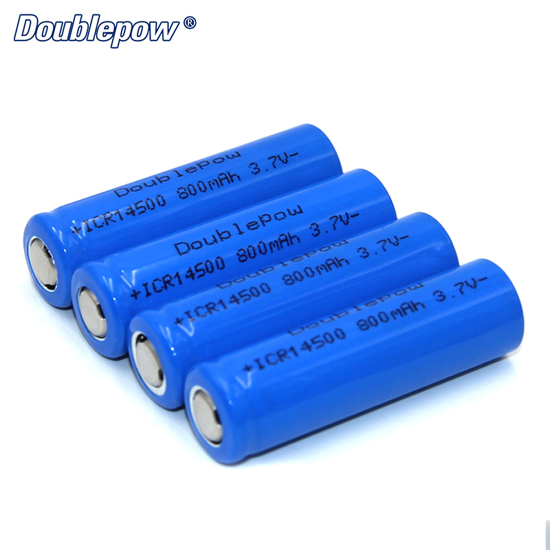 4pcs/Lot FREE SHIPPING Hot Sale Doublepow DP-14500 800mA 3.7V Li-ion rechargeable battery 14500 HIGH CAPACITY FOR FLASHLIGHT hot sale 2 4 6 8 10pcs unitek icr 3 7v 14500 battery 750mah aa rechargeable lithium ion li ion cell for led flashlight torch