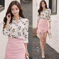 New Women suit Office Bandage Party Sexy Bodycon Vestidos Dresses Floral print shirt tops and pink Mermaid skirt 2 piece set