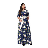 Casual Women 1/2 Sleeve Floral Printed Maxi Dress Green Women Large Size 6XL Maxi Dress Plus Size Dresses For Women 4XL 5XL 6XL