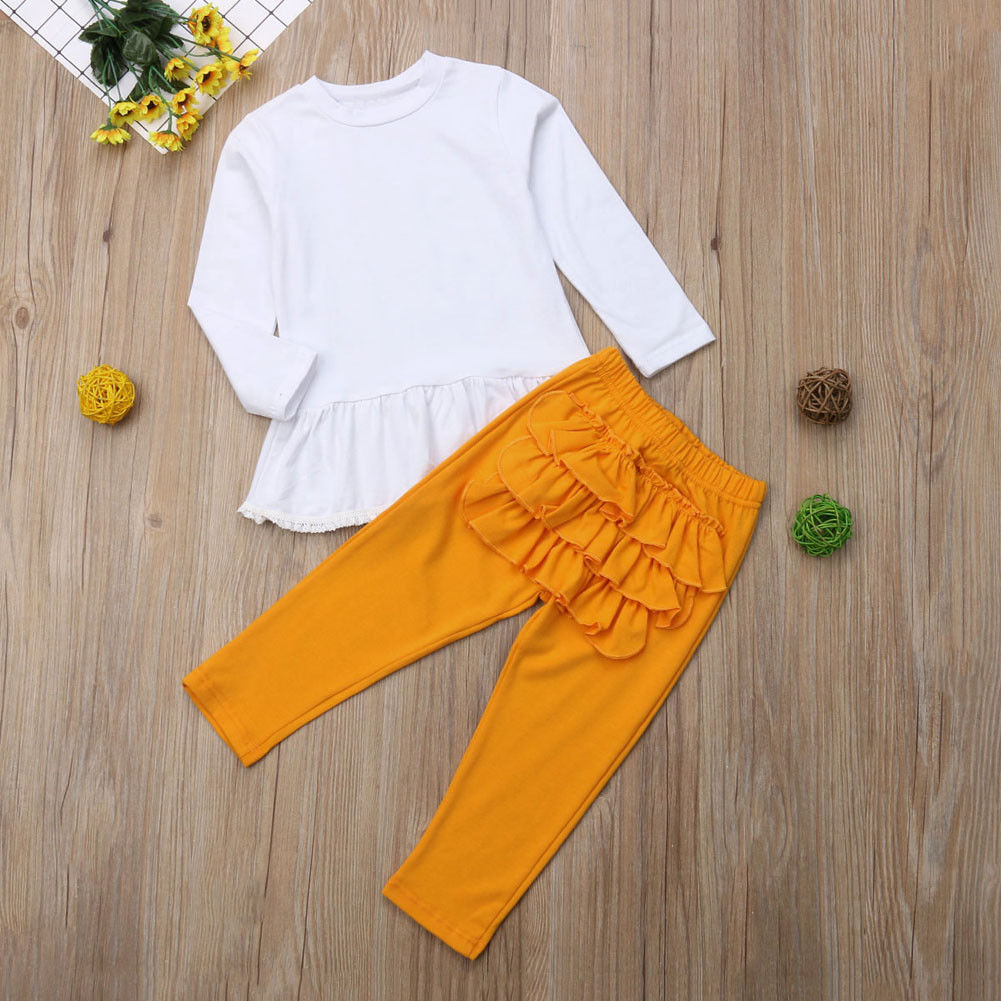 Newborn Baby Girl Long Sleeve Tops Dress Ruffle Pants Spring Autumn Outfits Solid Clothes Set 2019 in Clothing Sets from Mother Kids
