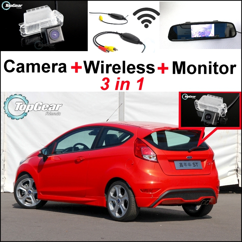 ФОТО 3 in1 Special Rear View Camera + Wireless Receiver + Mirror Monitor Easy DIY Parking System For Ford Fiesta MK6 2008~2014