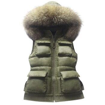 European Real Raccoon Fur Vest Winter Jacket Women Short Coat Slim Hooded Winter Women's Vest Solid Women's Vest Sleevest