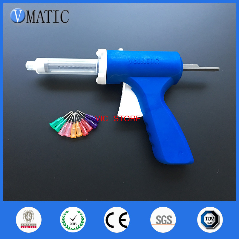 Free Shipping New 10ml Manual Syringe Gun Single Liquid Glue Gun 10cc Common 1Pc + 10cc Cones 1Pc + Dispensing Tips