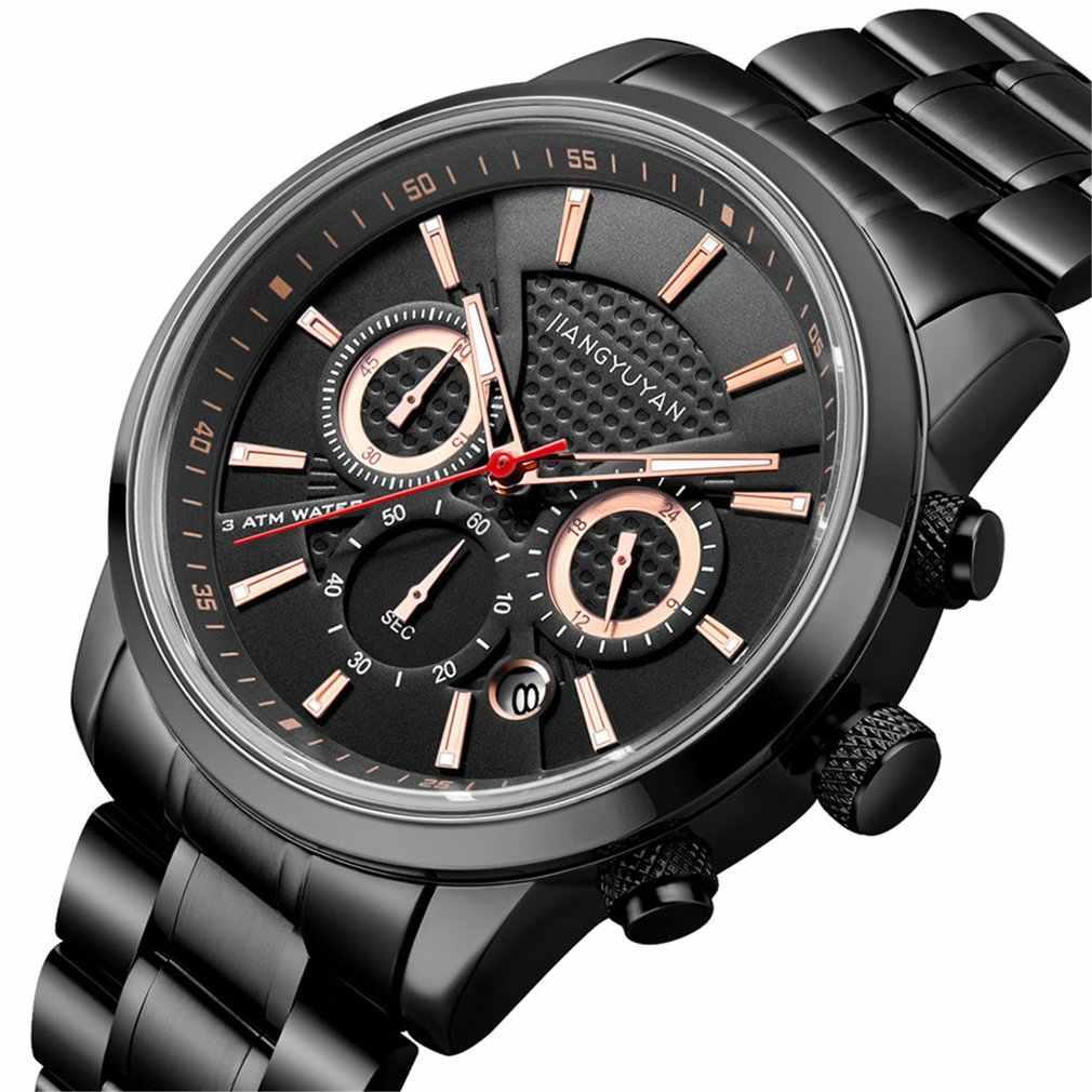 Watch With Calendar True Three Eyes Six Needle Small Dial Men's Quartz Watch Luminous Pointer Steel Band Watch Dropshipping