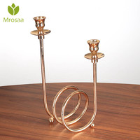 Mrosaa Metal Circle Candle Holders Wedding Candle Stand Candlestick Candelabra holder for Home wedding Decoration