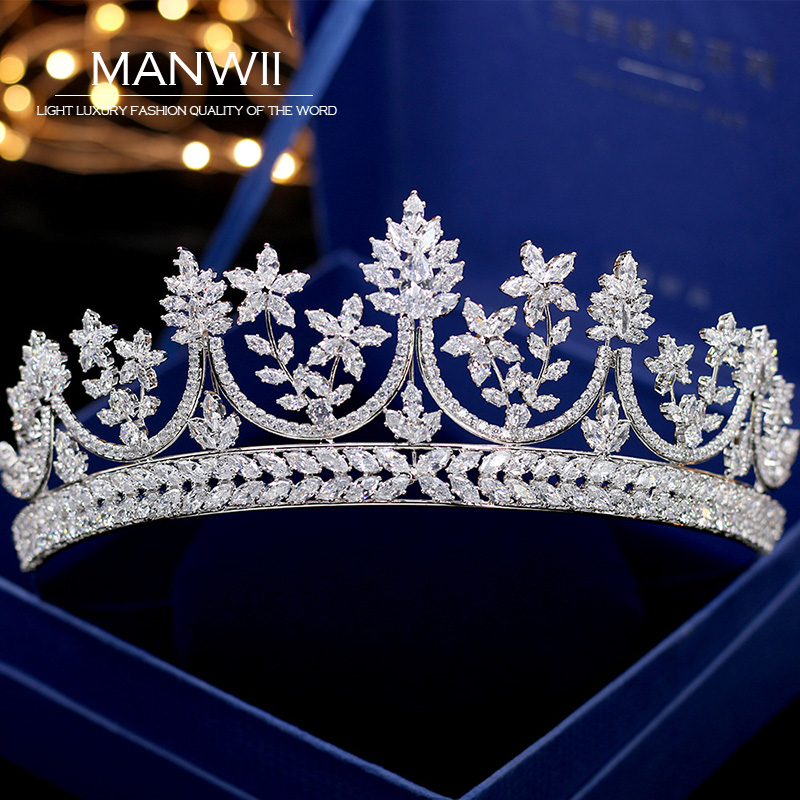 все цены на Fashion micro-inlaid rhinestone crown princess birthday bride wedding crown tiara wedding dress accessories T012