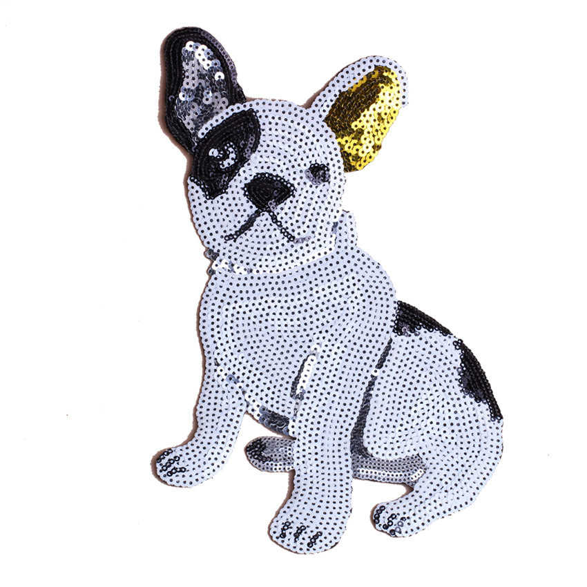 1PC Cute Dog Sequins Fabric Patch Embroidered Iron on Patches For Clothing DIY Decoration Clothes Stripe Stickers Applique Badge