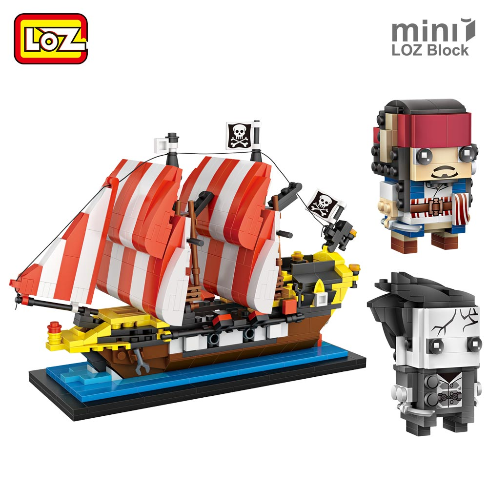 LOZ Pirate Ship Toys Kids Pirate Captain Plastic Building Blocks Model Educational Toy Movie Figure Set Jack Micro Bricks DIY pirate jack