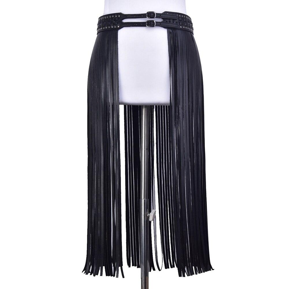 Women Belt Skirt Double Buckle Long Fringe Hippie Fantastic Party Tassels Corset Girdle Fashion Waist Dress Decor PU Leather