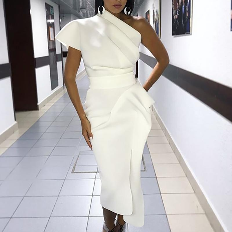 best selection of 2019 suitable for men/women rock-bottom price US $18.43 32% OFF One shoulder party dress women cocktail plunging midi  dresses Asymmetrical ruched elegant dress Summer 2019 white vestidos-in ...