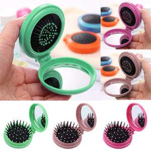 Image 1 - Poche ronde Portable petite taille voyage Massage pliant peigne fille brosse à cheveux avec miroir outils de coiffure 3 couleurs