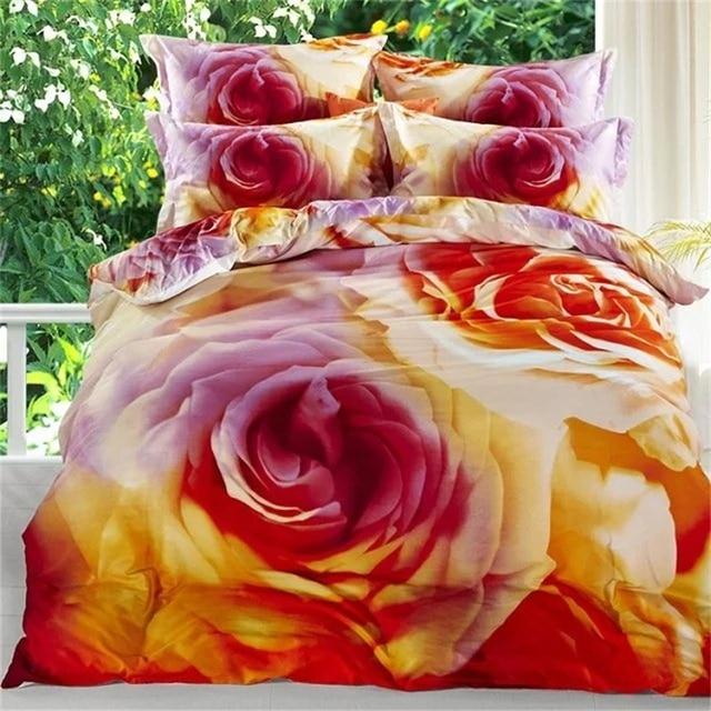 Rose Orange Rose Ensemble De Literie 100% Coton 3d Imprimé Floral Housse De  Couette Linge