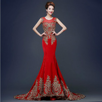 Luxury Red Mermaid Evening Dress Ball Gown Embroidery Chinese Oriental Dresses Qipao Long Cheongsam Awards Grand Formal Dress