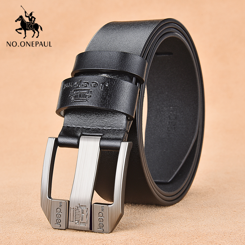 NO.ONEPAUL Fiery Authentic Men's Leather High Quality Classic Belt Alloy Pin Buckle Men's Matching Jeans Business Cowhide Belt