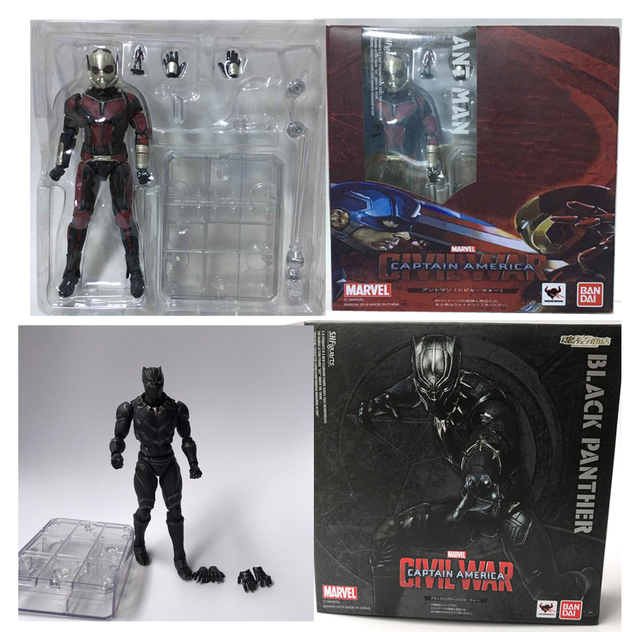 цена на Captain America Civil War Ant Man Black Panther PVC Action Figure Model Doll Birthday Gift For Kids