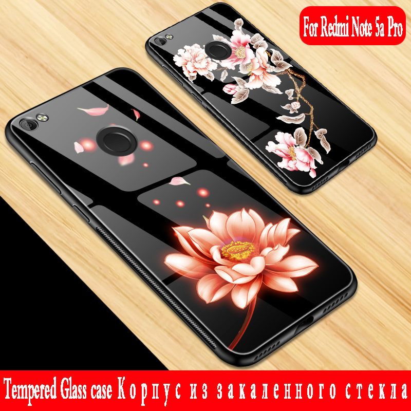 For xiaomi redmi note 5a pro case Luxury Tempered Glass hard Back Soft Edge For xiaomi r ...