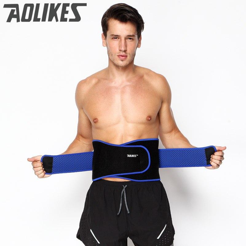 Aolikes transpirable deportes presurizado volver Protección de cintura más tamaño elástico fitness bodybuilding brace cinturón de pesas