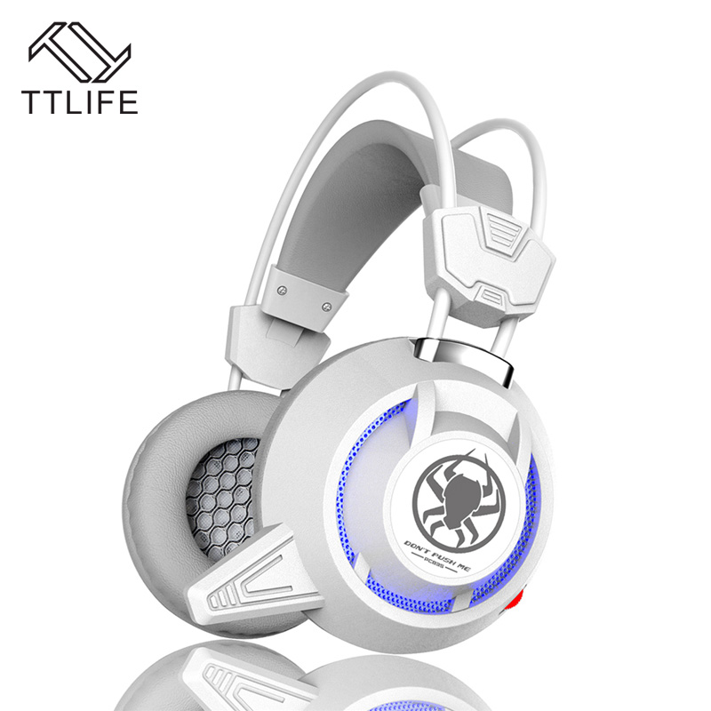 TTLIFE Wired Headphones PC835 Heavy Bass Headset Black White Big Gaming HIFI Headphone With Mic for Computer PS4 Internet Bar pk se215 original kz zs1 gaming headset hifi dj headphone with mic bass music 3 5 mm wired fone de ouvido ecouteurs for iphone