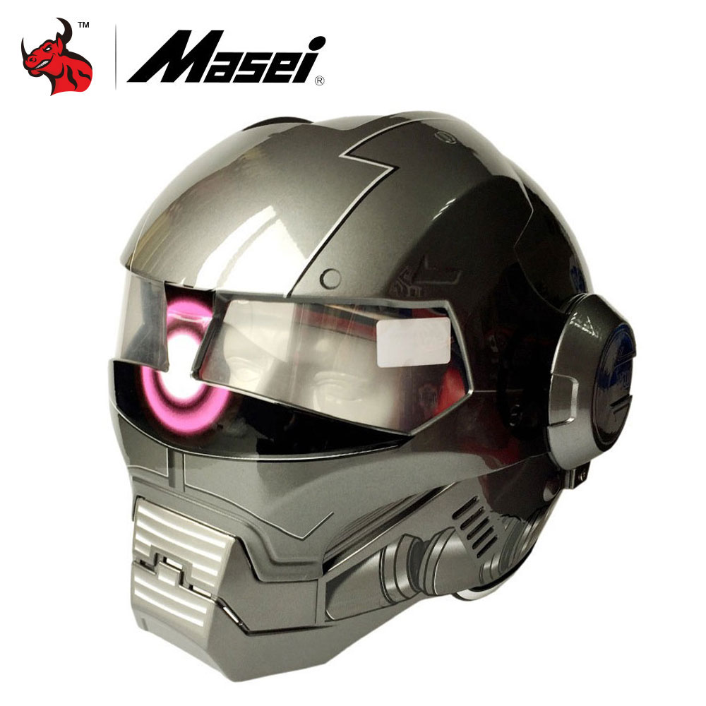Masei Ironman Motorcycle Helmet Fashion Half Open Face Motocross Helmet Casque Motocross Flip Up Motorcycle Helmets недорого