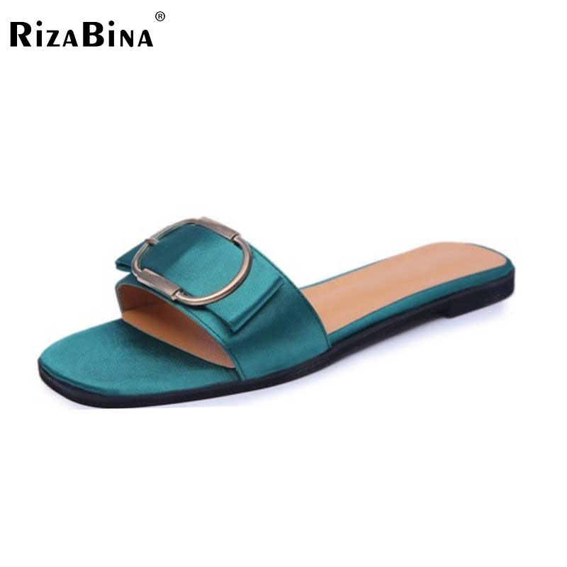 Female Flats Slippers Women Buckle Flat Sandals Metal Summer Shoes Beach Vacation Silk Comfortable Leisure Footwears Size 35-40 pink vietnam sandals flats female summer outdoor leisure shoes
