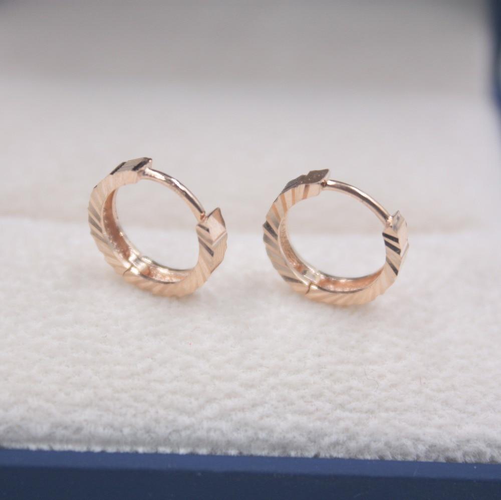 Solide 18 K or Rose boucles d'oreilles ensemble boucles d'oreilles cerceau AU750 femmes cadeau mignon boucles d'oreilles 1.6-1.9g tous les jours bijoux mère meilleur cadeau