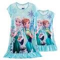 Nova Mãe Filha Pijama Elsa Anna Neve Branca Princesa Rapunzel Camisola Família Combinando Roupas de Seda Leite Verão Sleepwear
