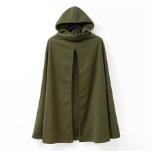 2016 Fashion Hooded Cape Coat Poncho Jacket Women Autumn Winter Outerwear Coat Loose Amry Green Color Casacos Femininos(China)