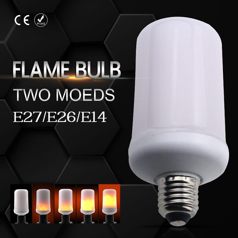 E27 LED Flame Effect Lamp E26 2835SMD E14 LED Candle Bulb 110V 220V Creative Flame Flicker Decoration Lights AC85-265V Two Modes