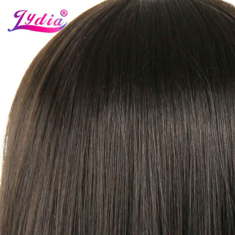 Lydia Lange Rechte Synthetische Pruiken Met Skin Top Voor Zwarte Vrouwen Pure Kleur #4 100% Kanekalon Afro-amerikaanse Natuur pruik