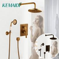 KEMAIDI Bathtub Faucets Shower Antique Black Wall Conceal Bathroom Faucets Shower Set Faucet Mixer Shower Set W/ Hand Spray