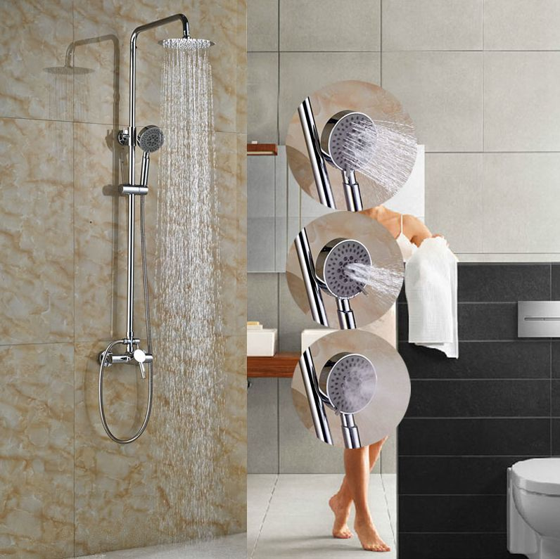 Exposed Brass Chrome Polish Shower Set Single Lever With Hand Shower Tub Faucet